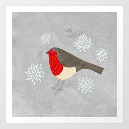 Robin and Snowflakes Art Print