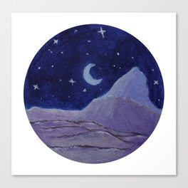 Moonlight Mountain - Acrylic Nature Painting Canvas Print
