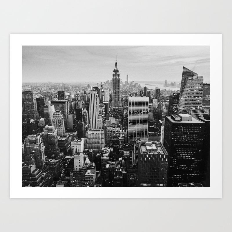 Black white nyc skyline art print