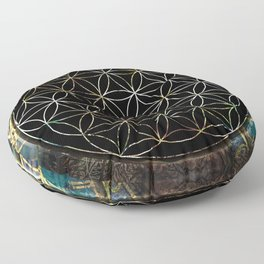 Flower of Life and Zodiac in Cosmic Space Floor Pillow