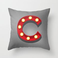 C - Theatre Marquee Letter Throw Pillow