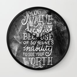 Your Value Quote - Hand Lettering Chalkboard Wall Clock