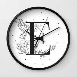 Black Letter E Monogram / Initial Botanical Illustration Wall Clock