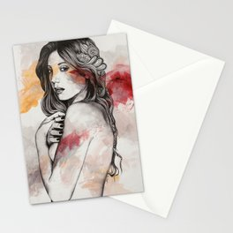 untitled #61019 (sexy girl with zentangle drawings) Stationery Cards