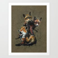 Little fox background Art Print