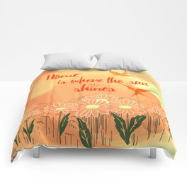 Home Is Where The Sun Shines Typography Design Comforters