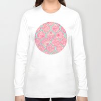 moroccan Long Sleeve T-shirts featuring Moroccan Floral Lattice Arrangement in Pinks by micklyn