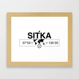 Sitka Alaska Map GPS Coordinates Artwork with Compass Framed Art Print