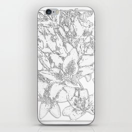 Large flowers pencil effect iPhone Skin