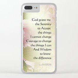 Serenity Prayer Cherry Blossom Glow Clear iPhone Case