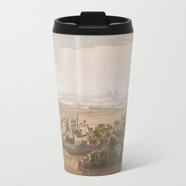 Vintage Cairo Egypt & Giza Pyramids Illustation Travel Mug