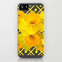 Golden Spring Daffodils Charcoal Grey Art iPhone Case