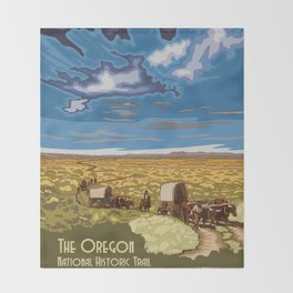 Vintage poster - The Oregon Trail Throw Blanket