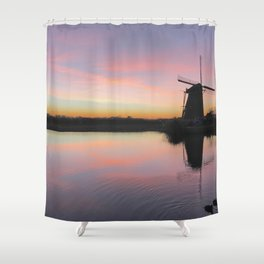 Sunset at Kinderdijk in Holland Shower Curtain