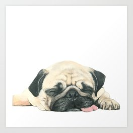 Nap Pug, Dog illustration original painting print Art Print