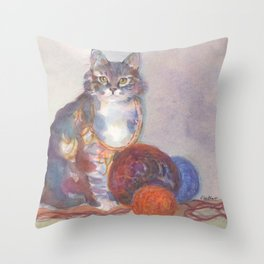 Purling Puss Throw Pillow