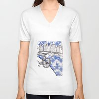 amsterdam V-neck T-shirts featuring Amsterdam by crocomila