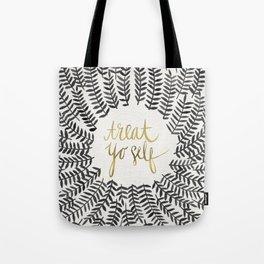 Treat Yo Self – Black & Gold Tote Bag