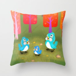 Happy Little Bluebirds Sing Their Song Throw Pillow