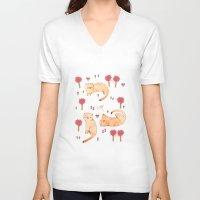 orange pattern V-neck T-shirts featuring Orange Cat Pattern by Judith Loske