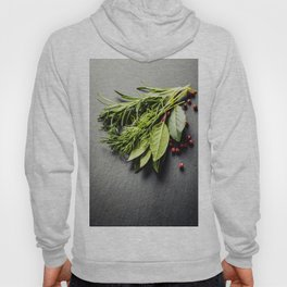 Herbs and spices on slate background Hoody