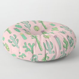 Cactus Pattern Pink Floor Pillow
