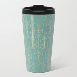 ELEGANT BLUE GOLD PATTERN v3 Travel Mug