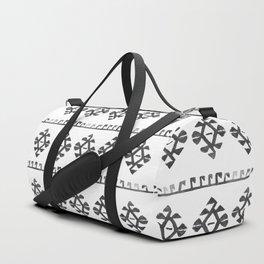 Black and White Bohemian Tribal Ethnic Kilim Pattern Duffle Bag