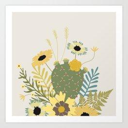 Wildflowers & Cactus Art Print