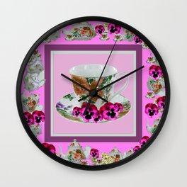 CERISE PANSY FLOWERS ANTIQUE TEA POTS & CUPS Wall Clock