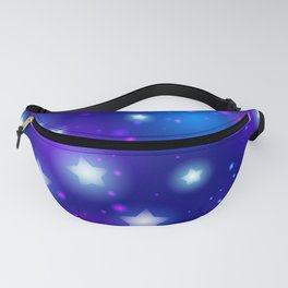 Milky Way Abstract pattern with neon stars on blue background Fanny Pack