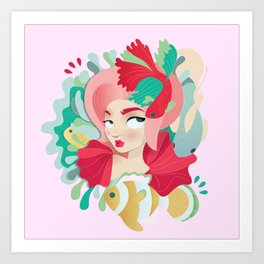 Little pink Mermaid with fish Art Print