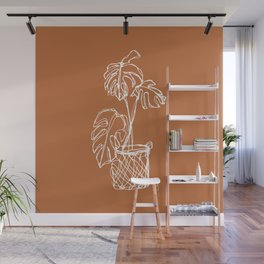 Monstera Line Art   Rust Wall Mural