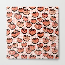 Pumpkin Patch Plaid Metal Print