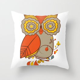 Abstract Colorful Floral Owl, Cute Owl Sticker, Terracotta Colors, Orange Yellow Gray And  Brown Throw Pillow