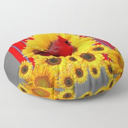 YELLOW SUNFLOWERS RED CARDINAL GREY  ART Floor Pillow