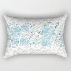 Gray arrows and blue flowers Rectangular Pillow