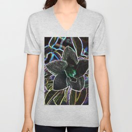 Fancy Prismatic Neon Colors Flower Blossom Unisex V-Neck