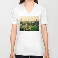 hot air balloons V-neck T-shirts featuring Hot Air Balloons Before Mountains  by Limitless Design