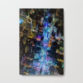Aerial Times Square - New York City Landscape Painting by Jeanpaul Ferro Metal Print