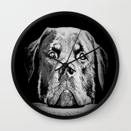 Rottweiler Drawing By Annie Zeno Wall Clock