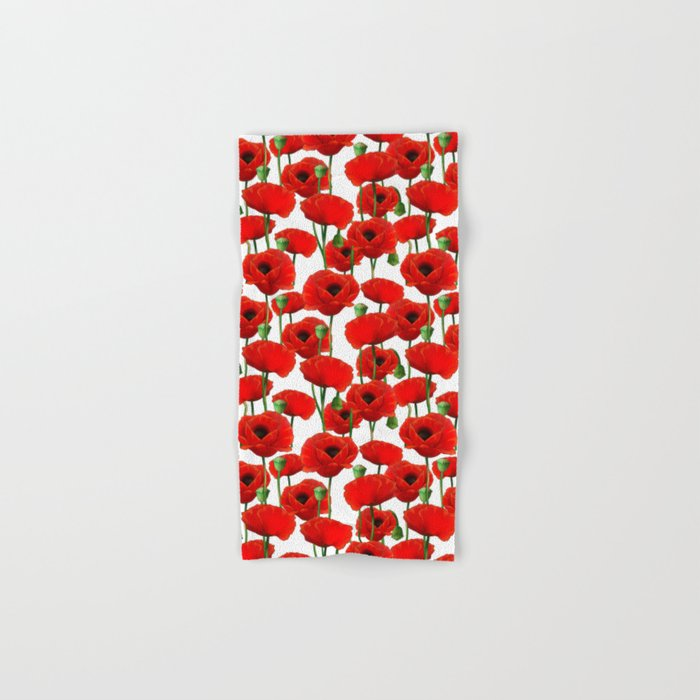 Red Poppy Pattern Hand & Bath Towel