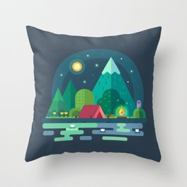 Night camping in mountains Throw Pillow