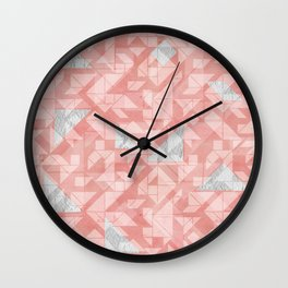 Peach pink tagram triangle mix Wall Clock