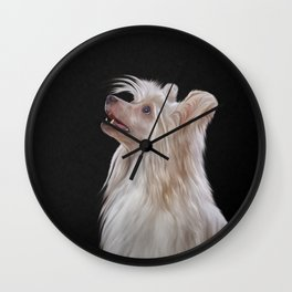 Drawing, illustration Chinese crested dog Wall Clock
