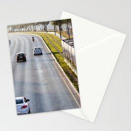 Cars and tram at seaside in Izmir (Turkey) Stationery Cards