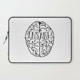 Insane in the Membrane in White Print by Emilythepemily Laptop Sleeve