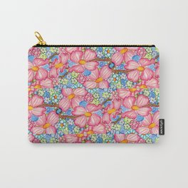 Large Pink Dogwood Flowers Tiled on Blue Background Carry-All Pouch