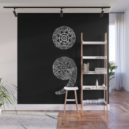 Patterned Semicolon: White on Black Wall Mural