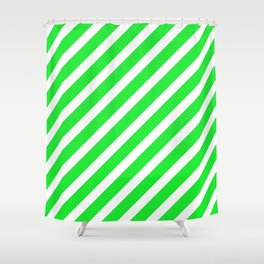 Basic Stripes Green Shower Curtain